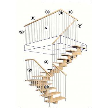 coude bois pour  raccord  de garde corps d'étage