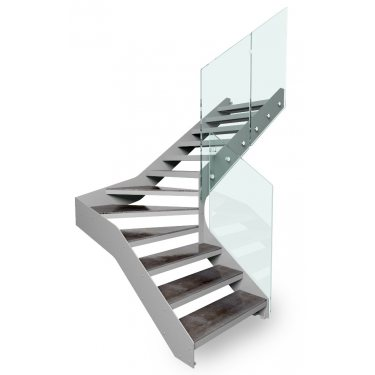 ESCALIER DOUBLE LIMON IMAGINE PRESTIGE LINEAR HETRE 2/4 TOURNANT marches bois, limons INOX