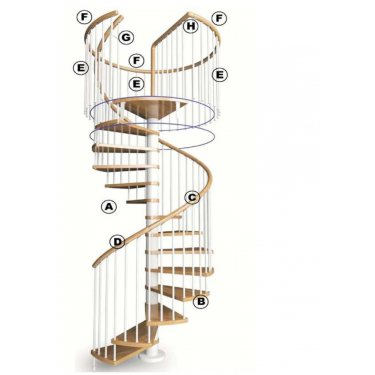 main courante bois pour garde corps circulaire  pour escalier  modèle MHEO