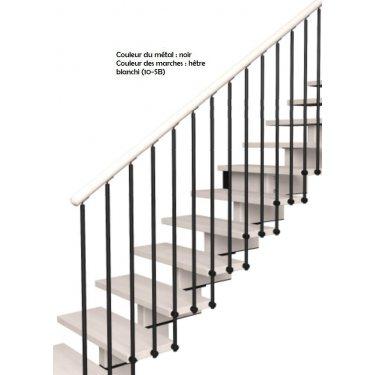 Escalier limon central droit modèle AERIEN  MODERNE