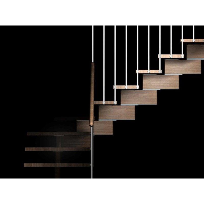 Escalier en kit sur mesure à limon central en bois de hêtre massif 40 mm Modèle AERIEN TRADITION
