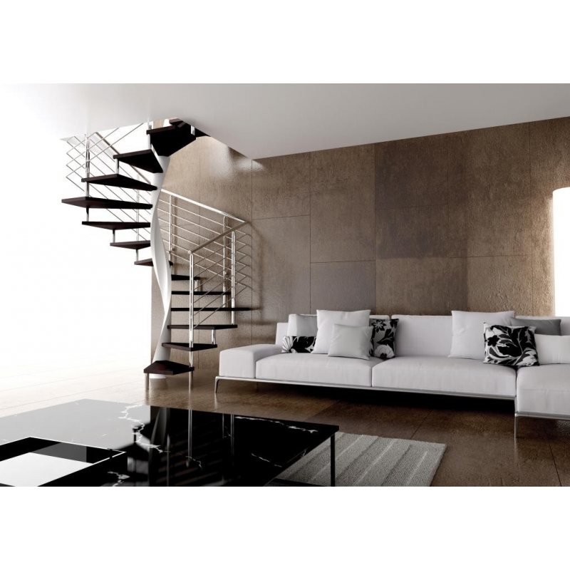EXCEPTION escalier colimaçon bois  métal inox