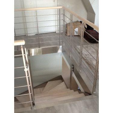 escalier suspendu prix double limon IMAGINE LINEAR DEMI TOURNANT bois,  métal