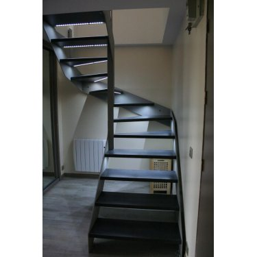 ESCALIER en metal double limon IMAGINE LINEAR DEMI TOURNANT bois,  métal