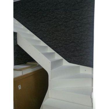 escalier avec contremarche double limon IMAGINE LINEAR DEMI TOURNANT bois blanc,  métal