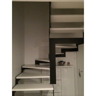 escalier hetre et metal DOUBLE LIMON IMAGINE LASER DEMI TOURNANT bois,  métal