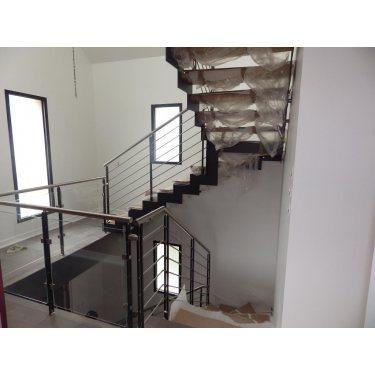 escalier quart tournant double limon IMAGINE LASER  quart TOURNANT bois,  métal