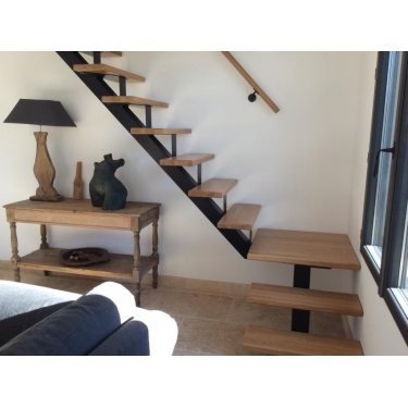 ESCALIER limon central CELESTE 1/4 TOURNANT,