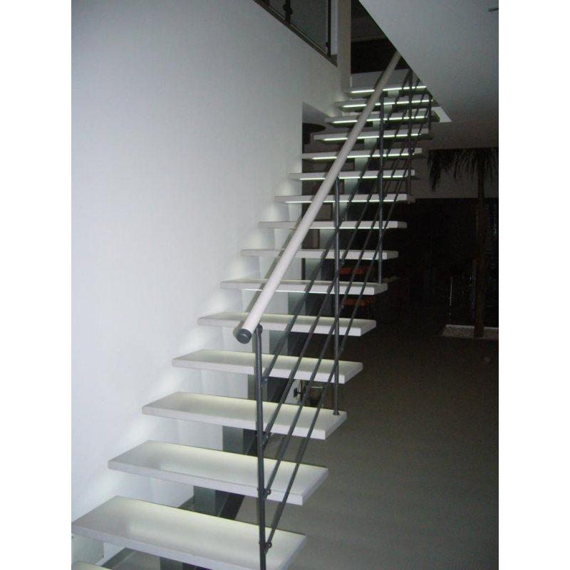 escalier en metal et bois   limon central  CELESTE DROIT  bois,  métal, lisses inox