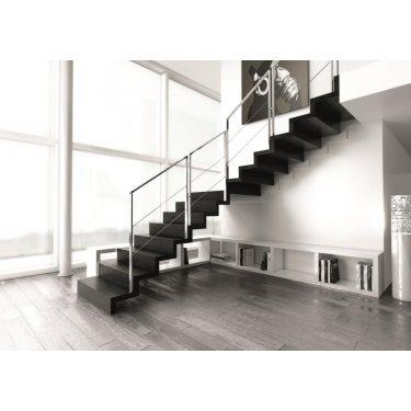 escalier metal bois quart tournant double limon IMAGINE LASER  quart TOURNANT bois,  métal