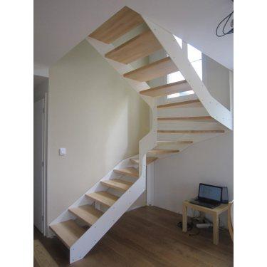 IMAGINE LINEAR demi tournant escalier double limon bois, métal