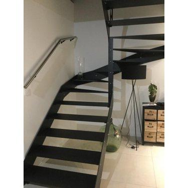 escalier metal pas cher double limon IMAGINE LINEAR DEMI TOURNANT bois,  métal