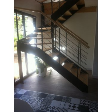 escalier design double limon IMAGINE LINEAR DEMI TOURNANT bois,  métal