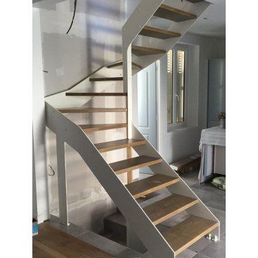 escalier moderne bois double limon IMAGINE LINEAR DEMI TOURNANT métal