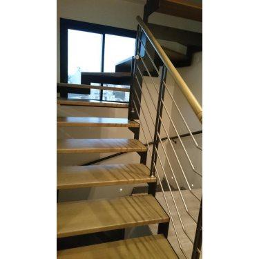 escalier pas cher DOUBLE LIMON IMAGINE LASER DEMI TOURNANT bois,  métal