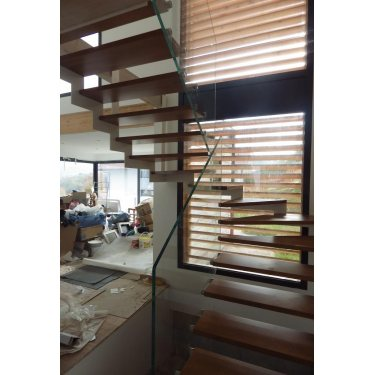 escaliers design DOUBLE LIMON IMAGINE LASER DEMI TOURNANT bois,  métal
