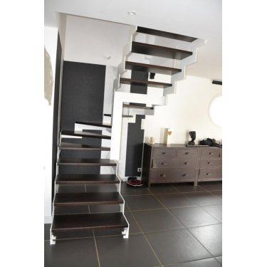 tarif escalier sur mesure  DOUBLE LIMON IMAGINE LASER DEMI TOURNANT bois,  métal