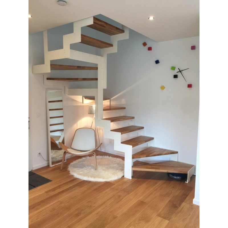 escalier sans contremarche pas cher  DOUBLE LIMON IMAGINE LASER DEMI TOURNANT bois,  métal