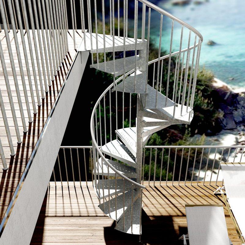 escalier colimaçon exterieur Métalis carré extérieur