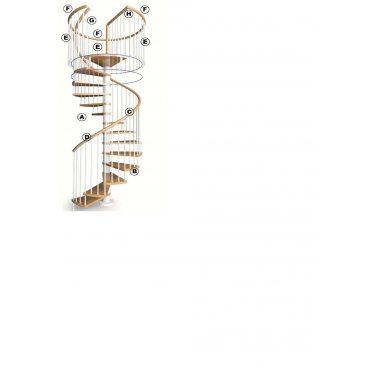 garde corps d'étage circulaire  main courante PVC pour escalier hélicoïdal