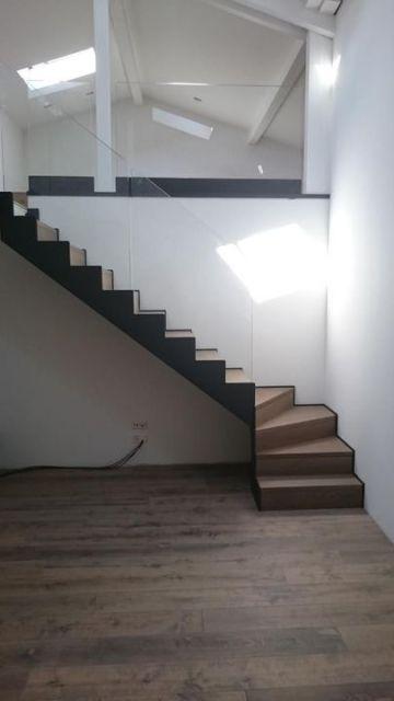 escalier métal verre chêne