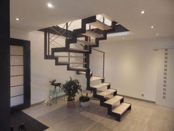 escalier double limon métal marches bois